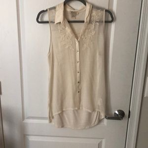 Lucky brand high low button down top